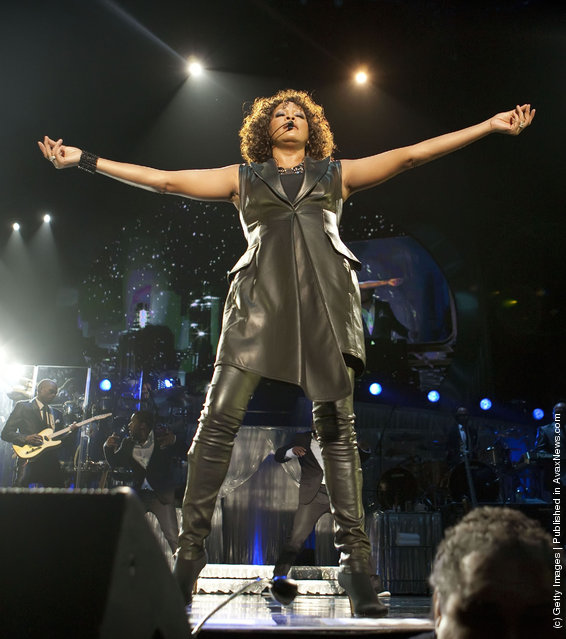 US-American singer Whitney Houston performs live during a concert at the O2 World on May 12, 2010 in Berlin