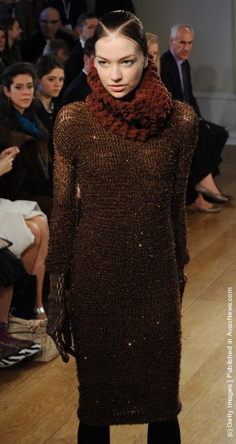 A model walks the runway during the Craig Lawrence show at London Fashion Week Autumn/Winter 2012