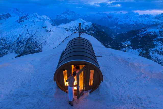 Merit: Sauna in the Sky. A sauna  at 2.800 mt high, in the heart of Dolomites. Monte Lagazuoi, Cortina, eastern Italian Alps. (Photo and caption by Stefano Zardini/National Geographic Traveler Photo Contest)