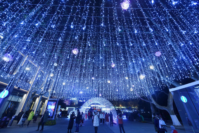 A light installation to welcome in the new year in Hangzhou City, China on December 30, 2019. (Photo by  Costfoto/Barcroft Media)