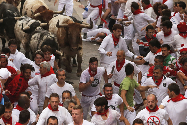 Torrestrella fighting bulls and revelers run during the running of the bulls of the San Fermin festival, in Pamplona, Spain, Monday, July 7, 2014. (Photo by Andres Kudacki/AP Photo)