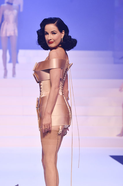 Dita Von Teese walks the runway during the Jean-Paul Gaultier Haute Couture Spring/Summer 2020 show as part of Paris Fashion Week at Theatre Du Chatelet on January 22, 2020 in Paris, France. (Photo by Peter White/Getty Images)