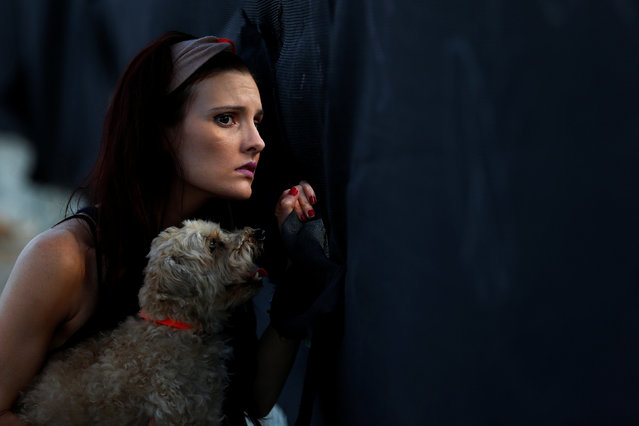 A woman holds up her dog as she looks though a hole cut in material wrapping a chain link fence erected outside Pulse night club following the mass shooting last week in Orlando, Florida, U.S., June 21, 2016. (Photo by Carlo Allegri/Reuters)