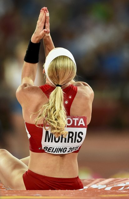 Sandi Morris of the U.S. gestures after a jump in the women's pole vault final during the 15th IAAF World Championships at the National Stadium in Beijing, China, August 26, 2015. (Photo by Dylan Martinez/Reuters)