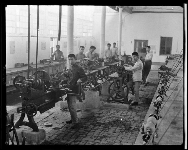 Machine Shop. China, Beijing, 1917-1919. (Photo by Sidney David Gamble)