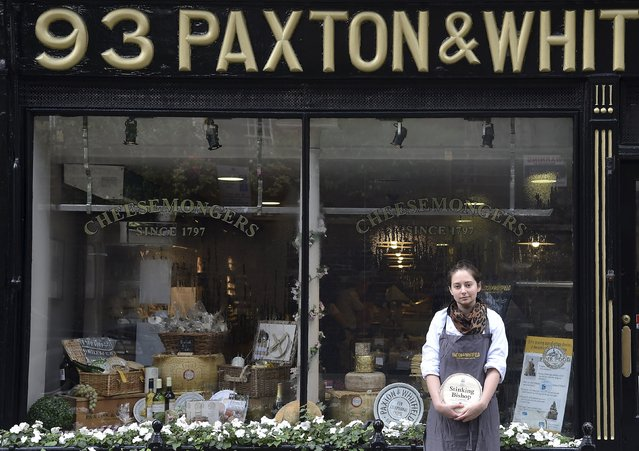 Affineur and cellar manager Dan Bliss holds a wheel of 'Stinking Bishop' cheese, which has a royal warrant from the Prince of Wales outside of Paxton and Whitfield in central London, Britain, August 21, 2015. Paxton & Whitfield, Britain's oldest cheesemonger, has two royal warrants for Queen Elizabeth and the Prince of Wales. (Photo by Toby Melville/Reuters)