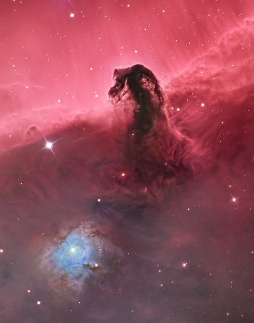 """The Horsehead Nebula"". The photo of the Horsehead Nebula includes the folds of illuminated gases below the well-known formation. Winner in the Deep Space category. (Photo by Bill Snyder, USA/The Astronomy Photographer of the Year 2014 Contest)"