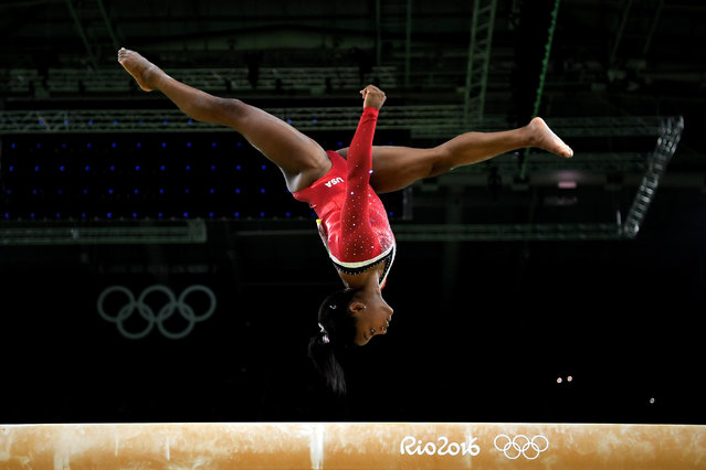 Simone Biles of the United States competes in the Balance Beam Final on day 10 of the Rio 2016 Olympic Games at Rio Olympic Arena on August 15, 2016 in Rio de Janeiro, Brazil. (Photo by Laurence Griffiths/Getty Images)