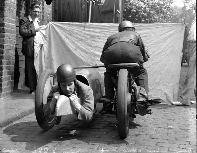 Handout photo issued by Easyart of a motorcycle with reverse side car as an archive of weird and wacky innovations has been unearthed by an amateur historian as he trawled through a collection of images spanning the last 100 years. (Photo by Easyart/PA Wire)