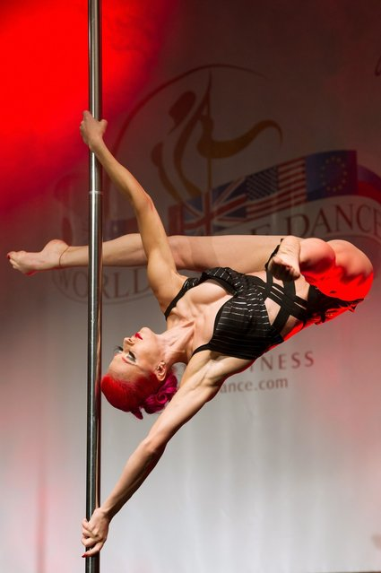A competitor participates at the World Pole Dancing Championship 2012 held at the Volkshaus on November 10, 2012 in Zurich, Switzerland. The public's perception of pole dancing has recently changed to become a popular sport combining physical strength, technique and choreography.  (Photo by Harold Cunningham)