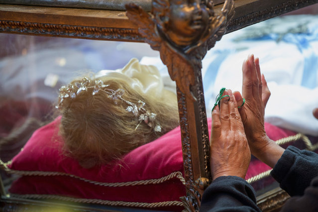 Visitors pray over the remains of Saint Maria Goretti, are displayed at Saint Francis Assisi Church on October 14, 2015 in Orland Park, Illinois. Goretti, the youngest canonized saint in the Catholic Church, was murdered during an attempted rape by Alessandro Serenelli in 1902. The nearly complete skeletal remains are encased in a wax statue and displayed in a glass-sided casket. The remains are on their first ever tour of the United States. (Photo by Scott Olson/Getty Images)