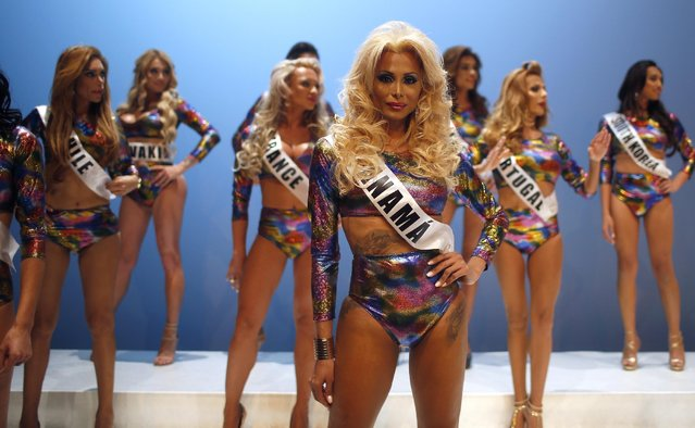 In this Sunday, September 18, 2016 photo, participants performance at the Miss Trans Star International 2016 during a show celebrated in Barcelona, Spain. Twenty-eight women representing as many countries competed last weekend to be crowned  Miss Trans Star International, Europe's largest beauty pageant for transgender women and one of a growing number of similar events aimed at celebrating a population more often condemned. (Photo by Manu Fernandez/AP Photo)