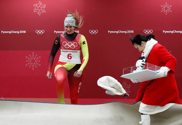 Gold medalist Natalie Geisenberger of Germany during the winners ceremony after the women' s luge final at the 2018 Winter Olympics in Pyeongchang, South Korea, Tuesday, February 13, 2018. (Photo by Edgar Su/Reuters)