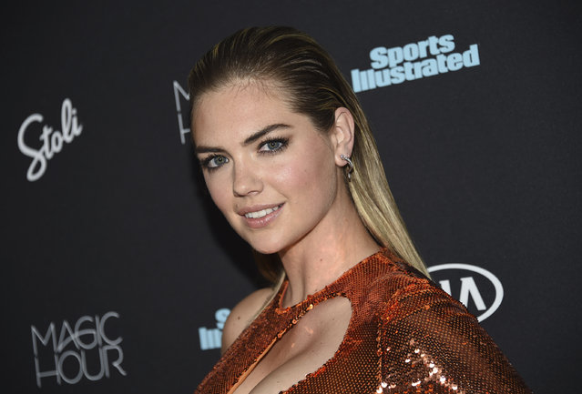 Kate Upton attends the Sports Illustrated Swimsuit Issue launch party at Magic Hour at Moxy NYC Times Square on Wednesday, February 14, 2018, in New York, USA. (Photo by Evan Agostini/Invision/AP Photo)