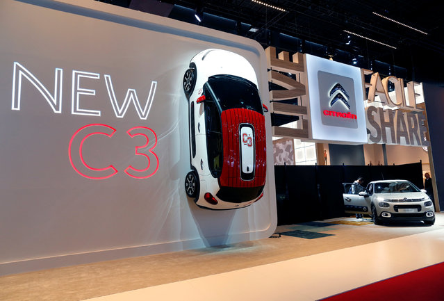 A new Citroen C3 car is displayed on media day at the Mondial de l'Automobile, the Paris auto show, in Paris, France, September 29, 2016. (Photo by Jacky Naegelen/Reuters)