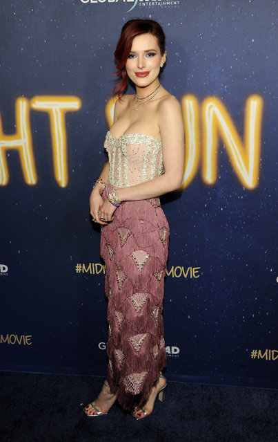 """Bella Thorne, a cast member in """"Midnight Sun"""", poses at the premiere of the film at the ArcLight Hollywood on Thursday, March 15, 2018, in Los Angeles. (Photo by Chris Pizzello/Invision/AP Photo)"""