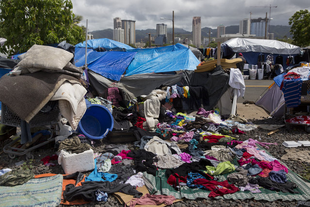 In this Tuesday, August 25, 2015 photo, clothes that belong to homeless people are left to dry after a night with heavy rain at a homeless encampment in the Kakaako district of Honolulu. The camp, one of the nation's largest homeless encampments and once home to hundreds of people, was recently cleared by city and state officials. (Photo by Jae C. Hong/AP Photo)