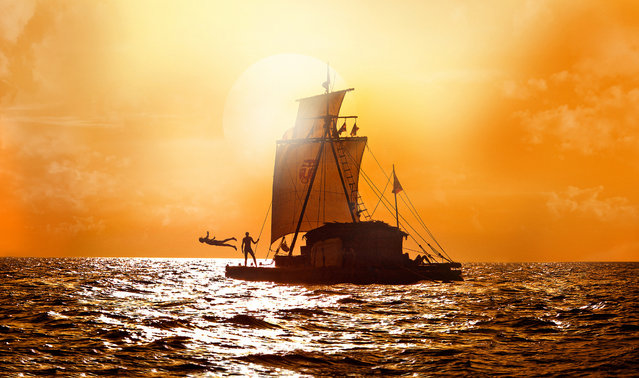 "May 31: ""Kon-Tiki"", Norwegian drama about an expedition to prove ancient indigenous cultures traveled to the Polynesian Islands by raft. This film image released by The Weinstein Company shows a scene from ""Kon Tiki"". (Photo by AP Photo/The Weinstein Company)"