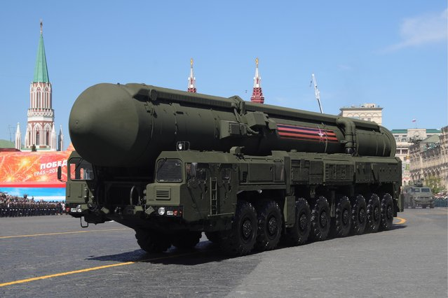 An RS-24 Yars mobile intercontinental ballistic missile system rolls down Moscow's Red Square during a Victory Day military parade marking the 73rd anniversary of the victory over Nazi Germany in the 1941-1945 Great Patriotic War, the Eastern Front of World War II. (Photo by Sergei Bobylev/TASS via Getty Images)