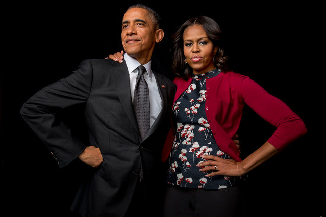 The Obamas by Gillian Laub, December 2014. This portrait of was an unpublished pose from a commissioned sitting for People magazine at the Marine Joint Base Anacostia-Bolling, Washington DC. (Photo by Gillian Laub/Taylor Wessing Portrait Prize 2015)