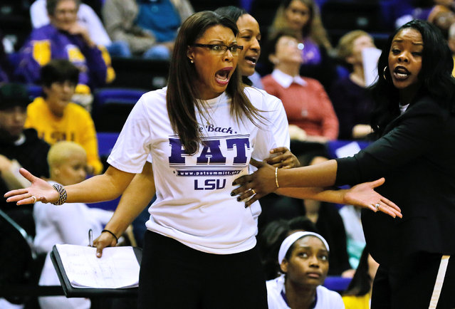 LSU head coach Nikki Caldwell reacts during the first half of an NCAA college basketball game against Kentucky, Sunday, January 18, 2015, in Baton Rouge, La. LSU won 84-79. (Photo by Jonathan Bachman/AP Photo)