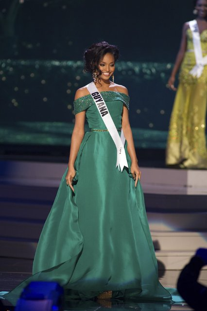 Niketa Barker, Miss Guyana 2014 competes on stage in her evening gown during the Miss Universe Preliminary Show in Miami, Florida in this January 21, 2015 handout photo. (Photo by Reuters/Miss Universe Organization)
