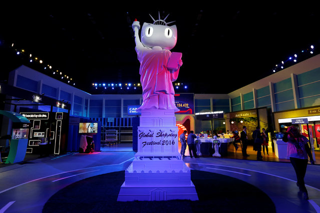 A statue symbolising Tmall.com is displayed inside an exhibition venue during Alibaba Group's 11.11 Singles' Day global shopping festival in Shenzhen, China November 11, 2016. (Photo by Bobby Yip/Reuters)