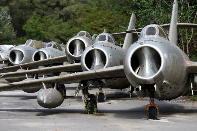 MiG-15 jet fighters are pictured in Kucova Air Base in Kucova, Albania on October 3, 2018. (Photo by Florion Goga/Reuters)