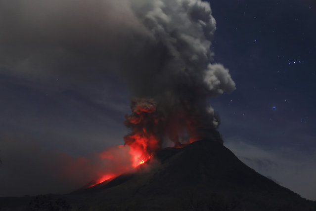 Mount Sinabung is seen during an eruption from Naman Teran village in Karo district, January 20, 2014. (Photo by Reuters/Beawiharta)