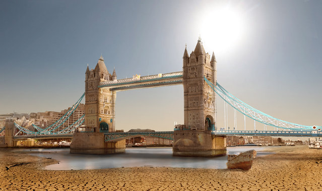 A graphic designer has produced a haunting look at what the world's most famous landmarks would look like if they were hit by a severe drought. Joel Krebs has intricately dried up hot spots such as the Tower Bridge in London, the Capitol in Washington, D.C., Niagara Falls and Machu Picchu. (Photo by Joel Krebs/Caters News)