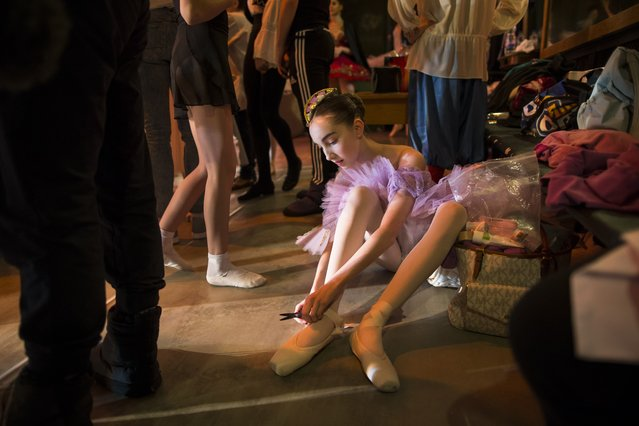 In this photo taken on Thursday, March  3, 2016, Harper Ortlieb from Mount Hood, Oregon, prepares for a performance at the Bolshoi Ballet Academy in Moscow, Russia. (Photo by Alexander Zemlianichenko/AP Photo)