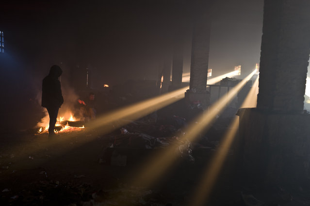 Migrants warm themselves around a fire in an abandoned warehouse in Belgrade, Serbia, Monday, January 30, 2017. Hundreds of migrants have been sleeping rough in freezing conditions in central Belgrade looking for ways to cross the heavily guarded EU borders. (Photo by Muhammed Muheisen/AP Photo)