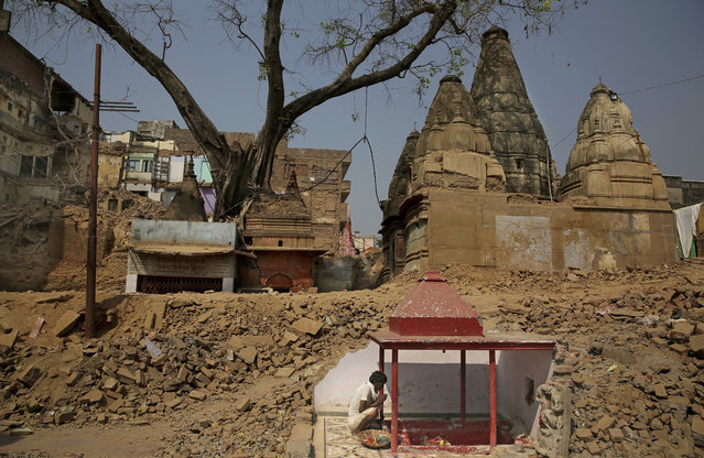 In this March 19, 2019 photo, a Hindu man prays next to a small temple uncovered hidden within the wall of demolished buildings at the site of a proposed grand promenade connecting the sacred Ganges river with a centuries-old temple dedicated to Lord Shiva, in Varanasi, India. The demolition of around 300 commercial and residential buildings between the temple and the river have left a gaping hole in Varanasi's urban core, a congested maze of zig-zagging brick lanes full of religious shrines. (Photo by Altaf Qadri/AP Photo)