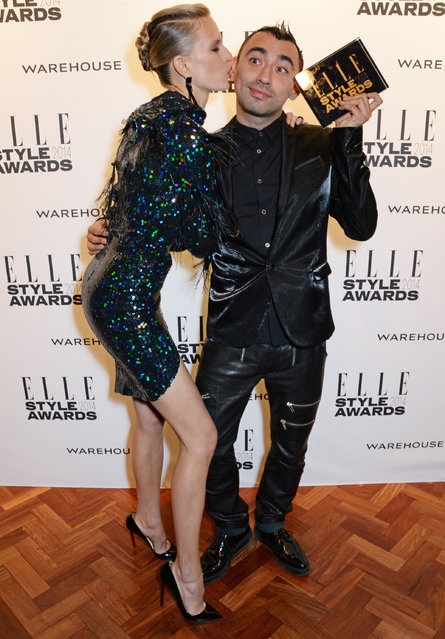 Karolina Kurkova (L) and Nicola Formichetti, winner of Fashion Innovator, pose in the winners room at the Elle Style Awards 2014 at One Embankment on February 18, 2014 in London, England. (Photo by David M. Benett/Getty Images)