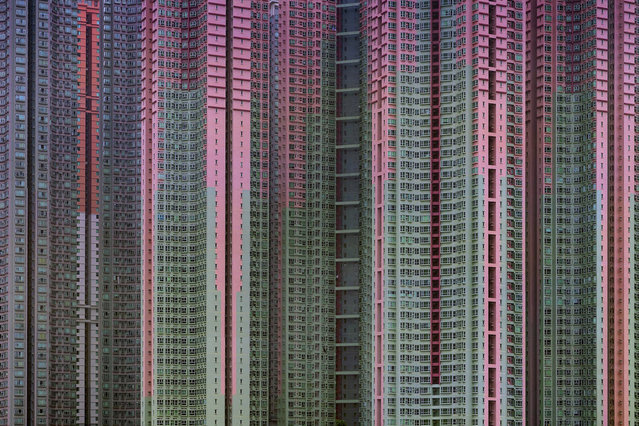 """The 2005 famed photograph titled """"Architecture of Density"""" #39, showing massive housing by award-winning Hong Kong-based photographer Michael Wolf. Hong Kong art gallery director Sarah Greene said that Wolf, known for his work depicting mega-cities, has died Tuesday, April 24, 2019 night at his home. She said he was 64. Wolf won first prize in the World Press Photo competition in 2005 and 2010. (Photo by Blue Lotus Gallery via AP Photo)"""