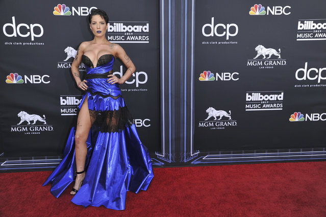 Halsey arrives at the Billboard Music Awards on Wednesday, May 1, 2019, at the MGM Grand Garden Arena in Las Vegas. (Photo by Richard Shotwell/Invision/AP Photo)