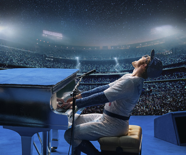 "This image released by Paramount Pictures shows Taron Egerton as Elton John in a scene from ""Rocketman"". (Photo by David Appleby/Paramount Pictures via AP Photo)"