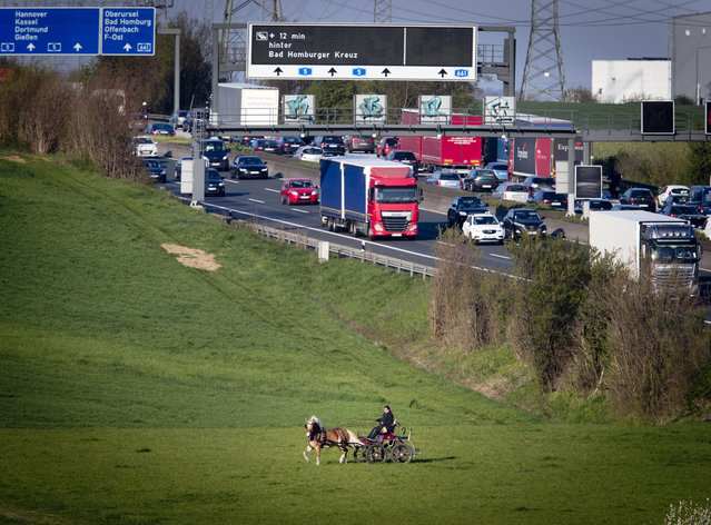 A man rides his horse and carriage over a meadow near the highway in Frankfurt, Germany, Thursday, April 11, 2019. (Photo by Michael Probst/AP Photo)