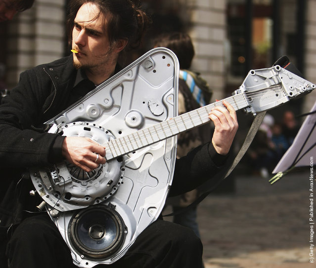 Music instruments made of car parts