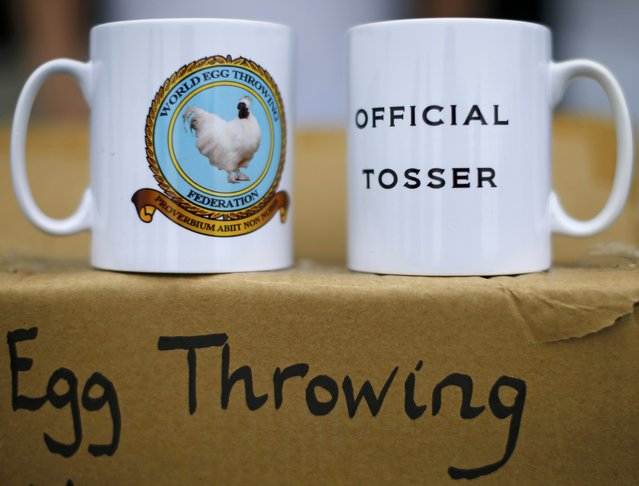 Merchandise is shown for sale during the World Egg Throwing Championships and Vintage Day in Swaton, Britain June 28, 2015. (Photo by Darren Staples/Reuters)