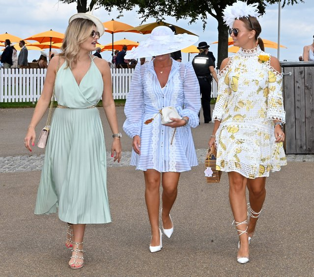 Racegoers arrive on day four of the Qatar Goodwood Festival at Goodwood Racecourse, Chichester on August 2, 2019. (Photo by James Marsh/BPI/Shutterstock)