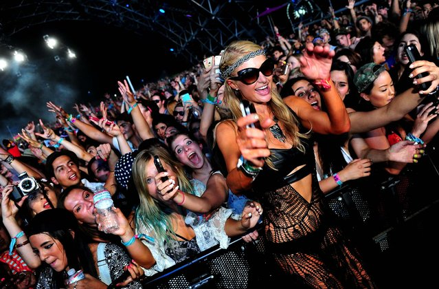 Paris Hilton attends Zedd performance during day 1 of the 2014 Coachella Valley Music & Arts Festival at the Empire Polo Club on April 18, 2014 in Indio, California (Photo by Frazer Harrison/Getty Images for Coachella)