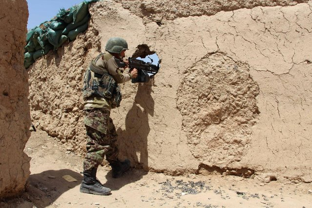 An Afghan National Army (ANA) soldier mans his position at an outpost in Babaji area of Lashkar Gah Helmand province, Afghanistan May 8, 2016. (Photo by Abdul Malik/Reuters)