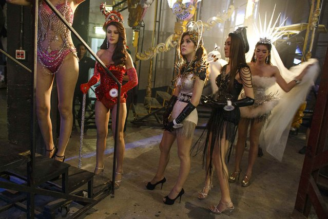Contestants wait backstage before the final event begins. (Photo by Athit Perawongmetha/Reuters)