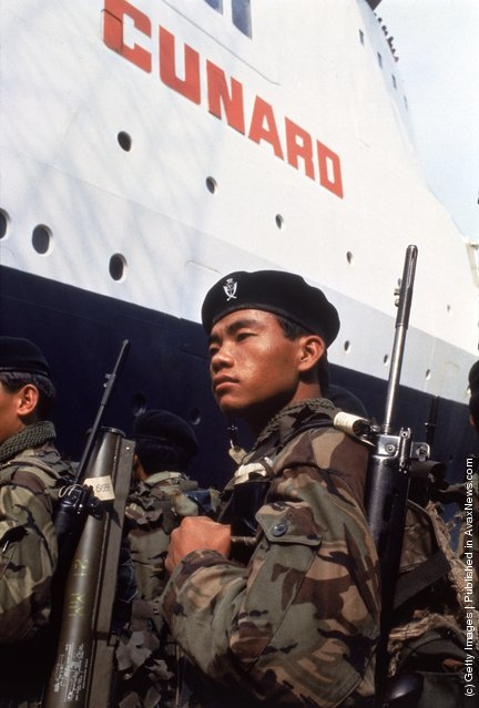 The Cunard liner QE2 carries British troops from Southampton during the Falklands War, 12th May 1982