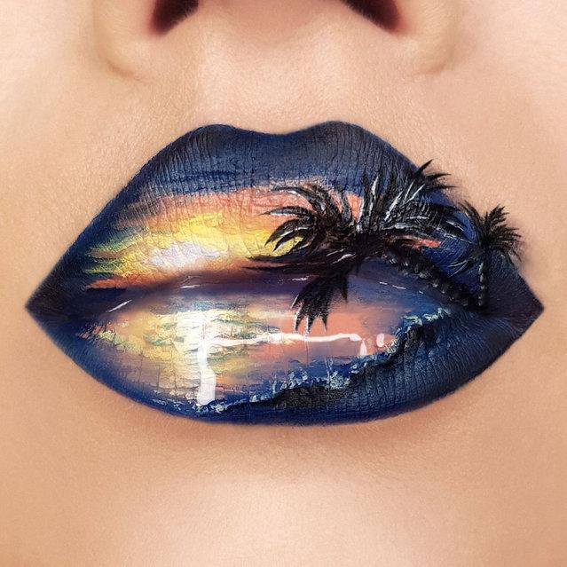Tutushka's lipstick art work on her lips showing a sunset. (Photo by Tutushka Matviienko/Caters News Agency)