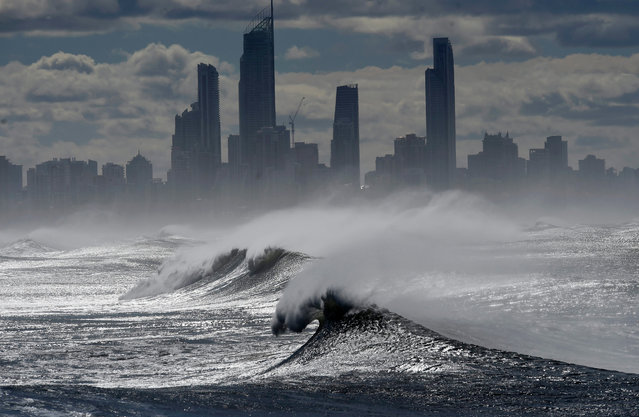 Large waves break at Burleigh Heads on the Gold Coast,, Queensland, Australia, 05 June 2016. Recent wild weather unleashed heavy rainfalls, powerful winds and abnormally high tides in Southeast Queensland and northern New South Wales. (Photo by Dan Peled/EPA)