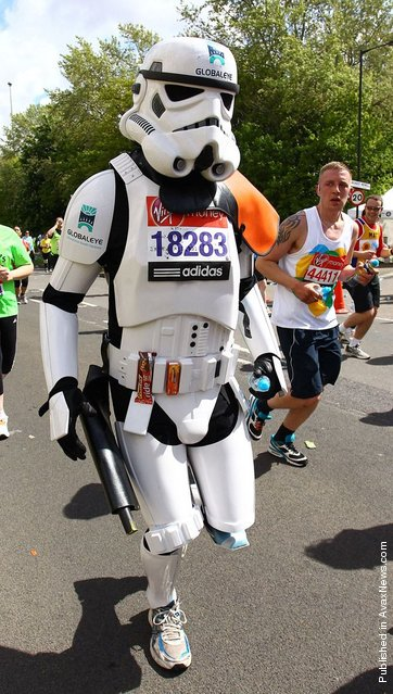 Competitors take to the streets of the capital in fabulous fancy dress costumes during the Virgin London Marathon 2012