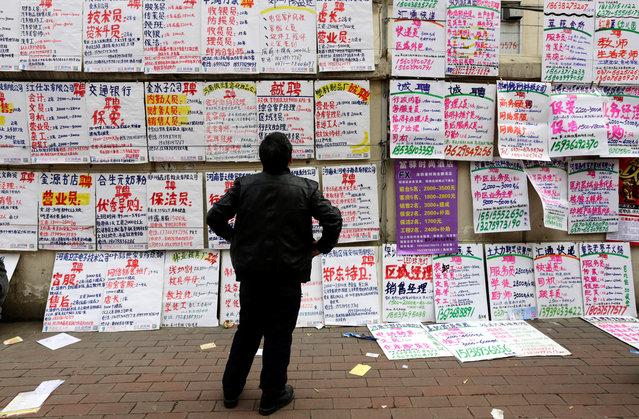 A man looks at job information at an employment fair beside a street in Zhengzhou, Henan province, February 19, 2014. (Photo by Jason Lee/Reuters)
