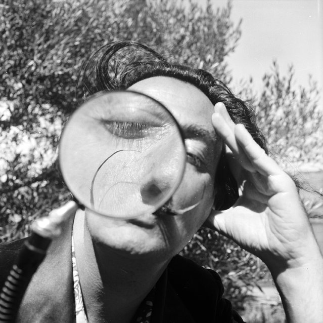 Spanish surrealist artist Salvador Dali (1904–1989) viewing the camera through a magnifying glass at his home in Cadaques on the Spanish Costa Brava, 1955. (Photo by Charles Hewitt)